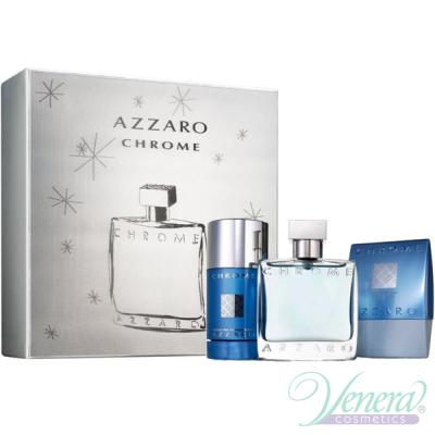 Azzaro Chrome Set (EDT 50ml + AS Balm 75ml + Deo Stick 75ml) for Men Men's Gift sets