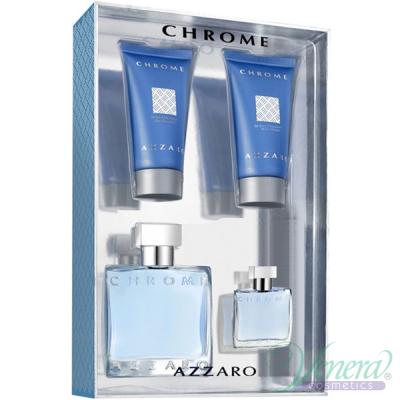 Azzaro Chrome Set (EDT 50ml + EDT 7ml + AS Balm 50ml + SG 50ml) for Men Men's Gift sets