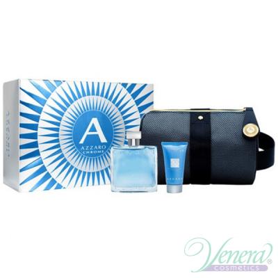 Azzaro Chrome Set (EDT 100ml + SG 50ml + Bag) for Men Men's Gift sets