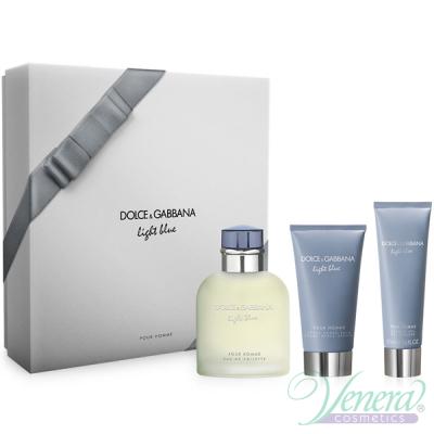 D&G Light Blue Set (EDT 125ml + AS Balm 75ml + SG 50ml) for Men Men's Gift sets