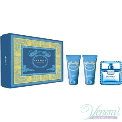 Versace Man Eau Fraiche Set (EDT 50ml + AS Balm 50ml + Shower Gel 50ml) for Men Men's