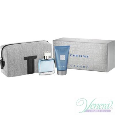 Azzaro Chrome Set (EDT 30ml + SG 50ml + Bag) for Men Men's Gift sets