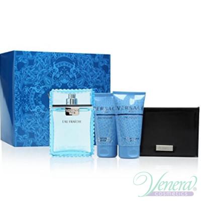 Versace Man Eau Fraiche Set (EDT 100ml + AS Balm 50ml + SG 50ml + Wallet) for Men Men's